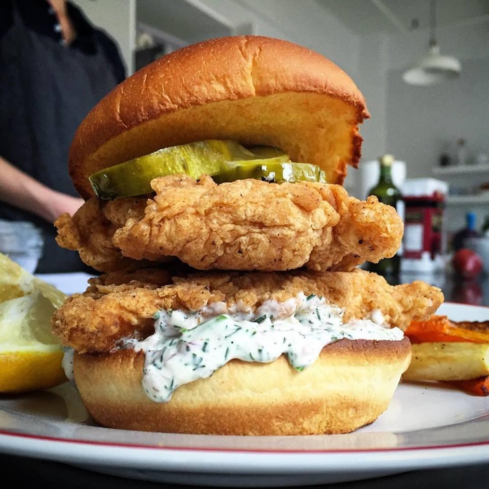 huge double stacked chicken sandwich