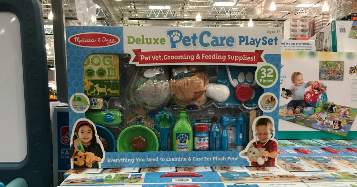 melissa and doug pet care playset in packaging in a warehouse store