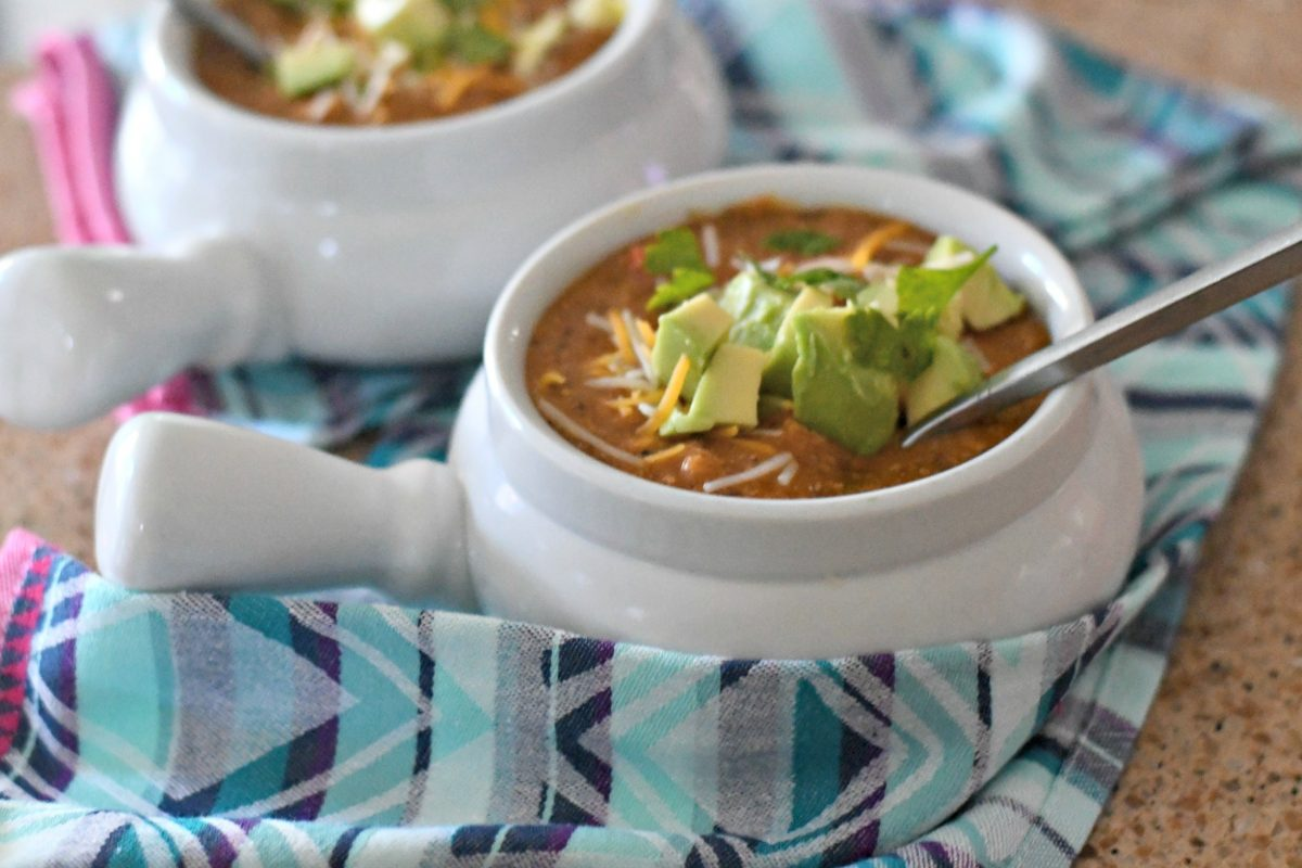 Slow Cooker Chicken Enchilada Soup – served in small bowls