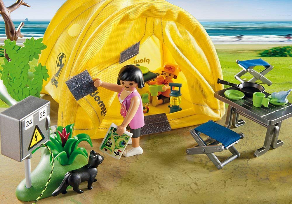 playmobil figurines in a tent