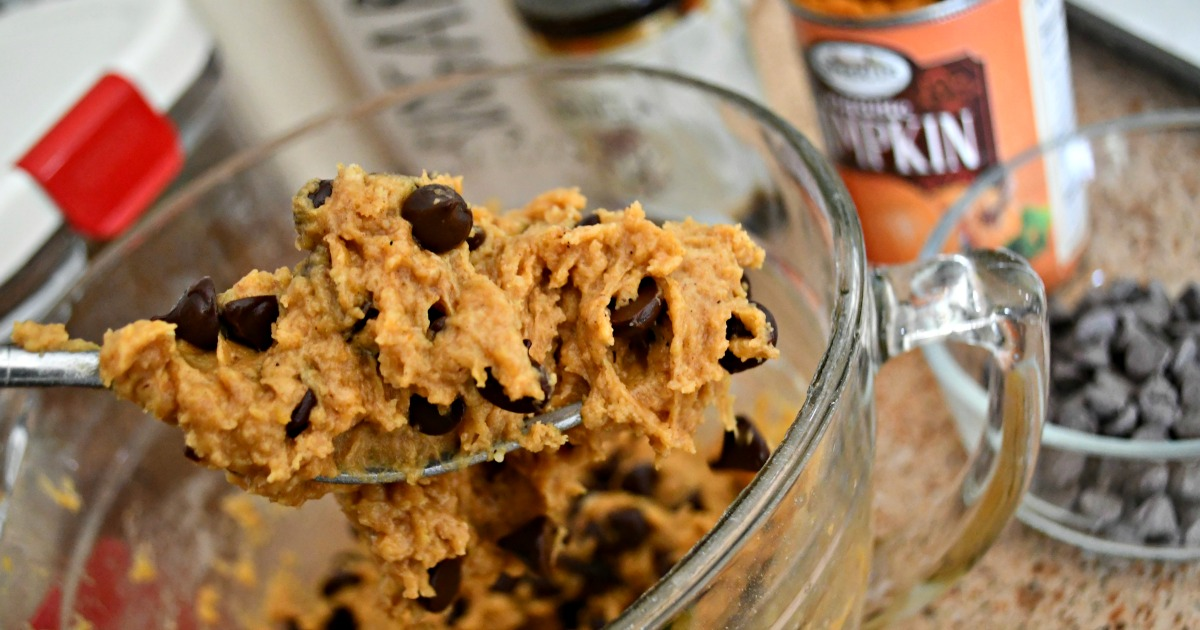 Pumpkin Chocolate Chip Cookies – the dough on a spoon