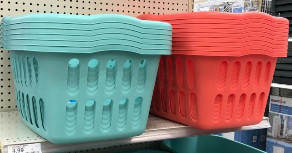 laundry baskets on shelf