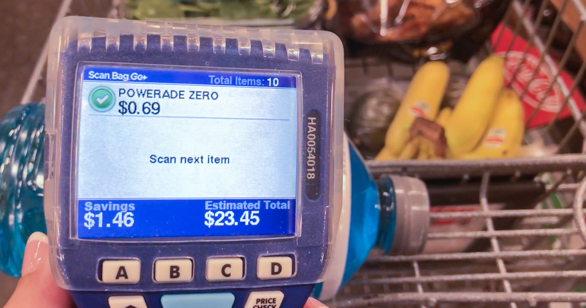 kroger scan bag go program – handheld device showing PowerAde Zero information
