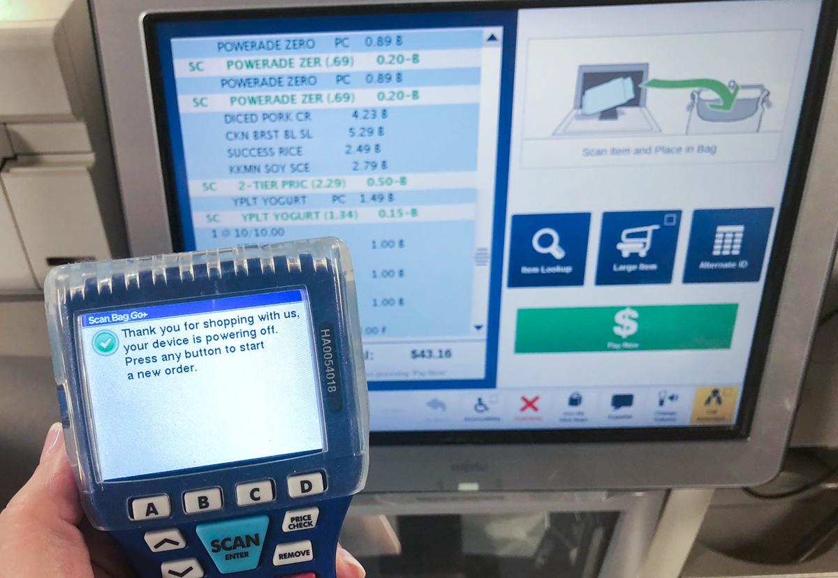 """kroger scan bag go program – final checkout screen showing a """"thank you"""""""