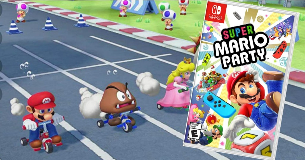 screen shot of Super Mario Party game and the game box