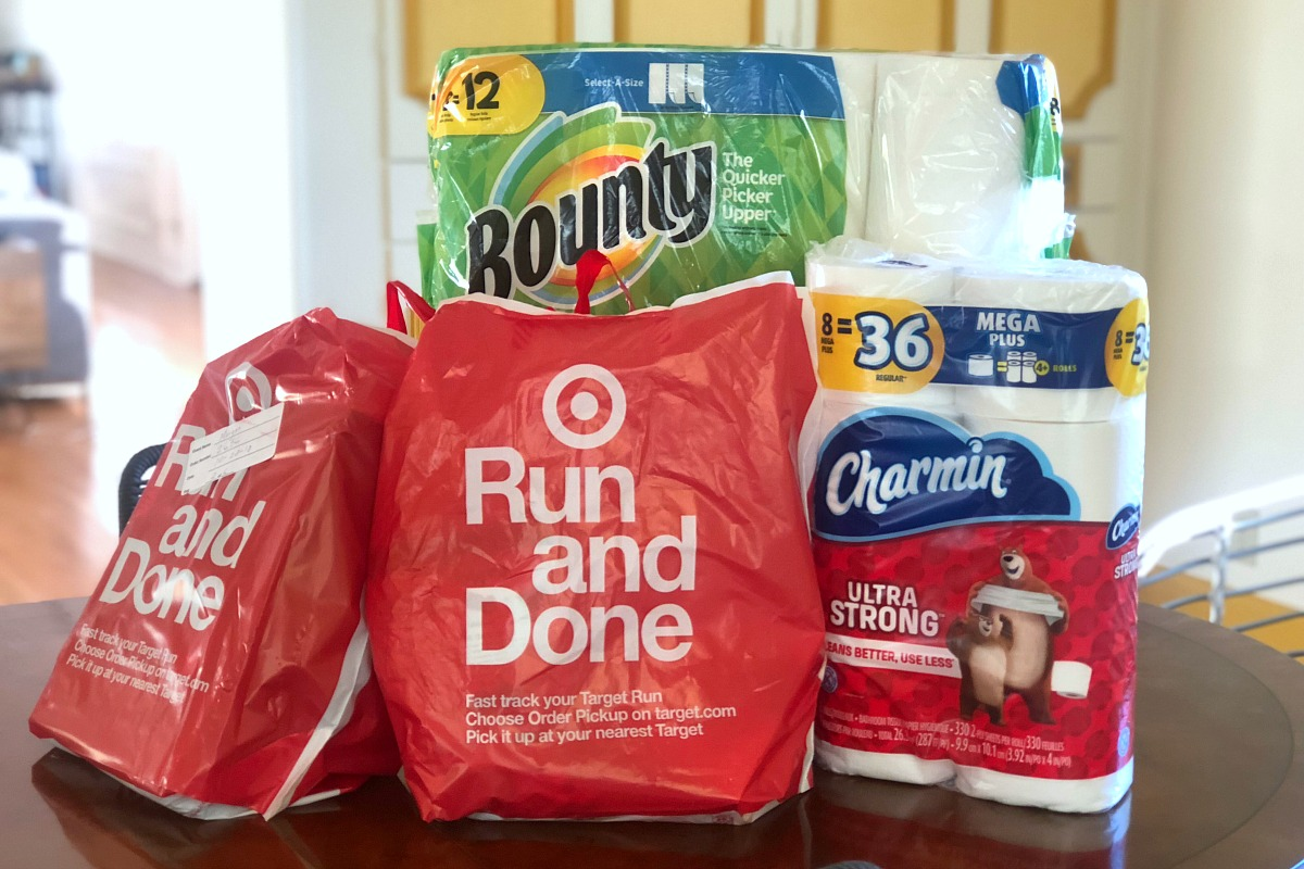 target cartwheel deals order pickup — target order bags and paper products on table