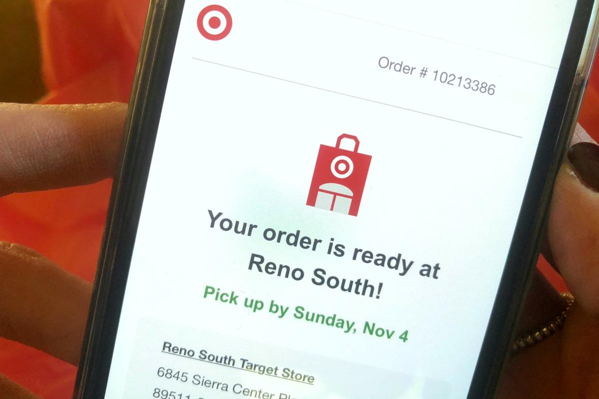 target cartwheel deals order pickup — target online order ready for pickup message on phone