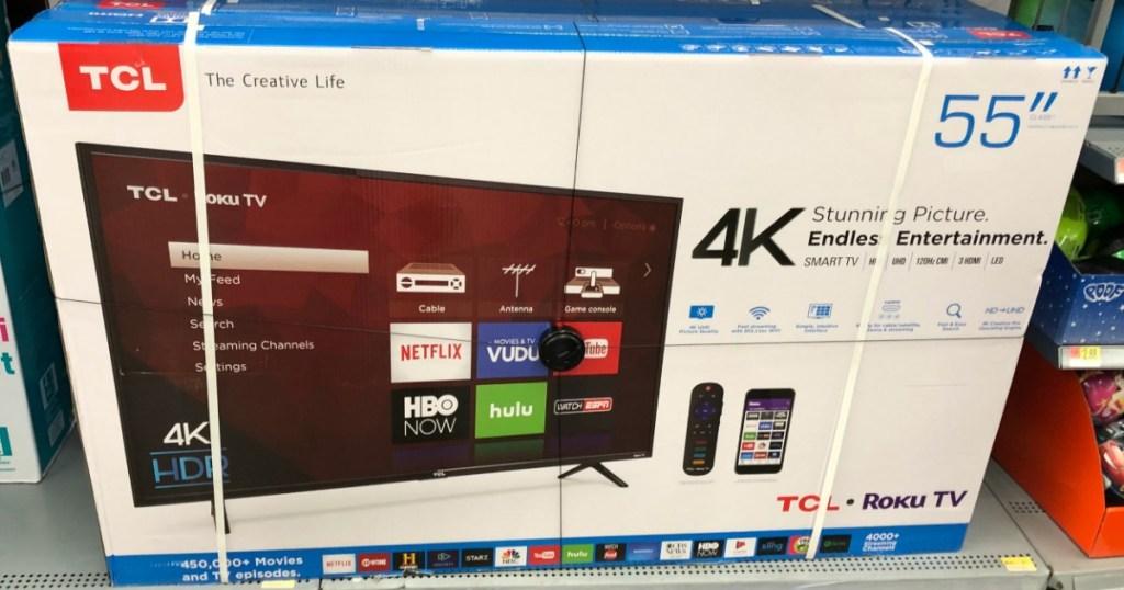 TCL 55 Roku Smart TV on store shelf