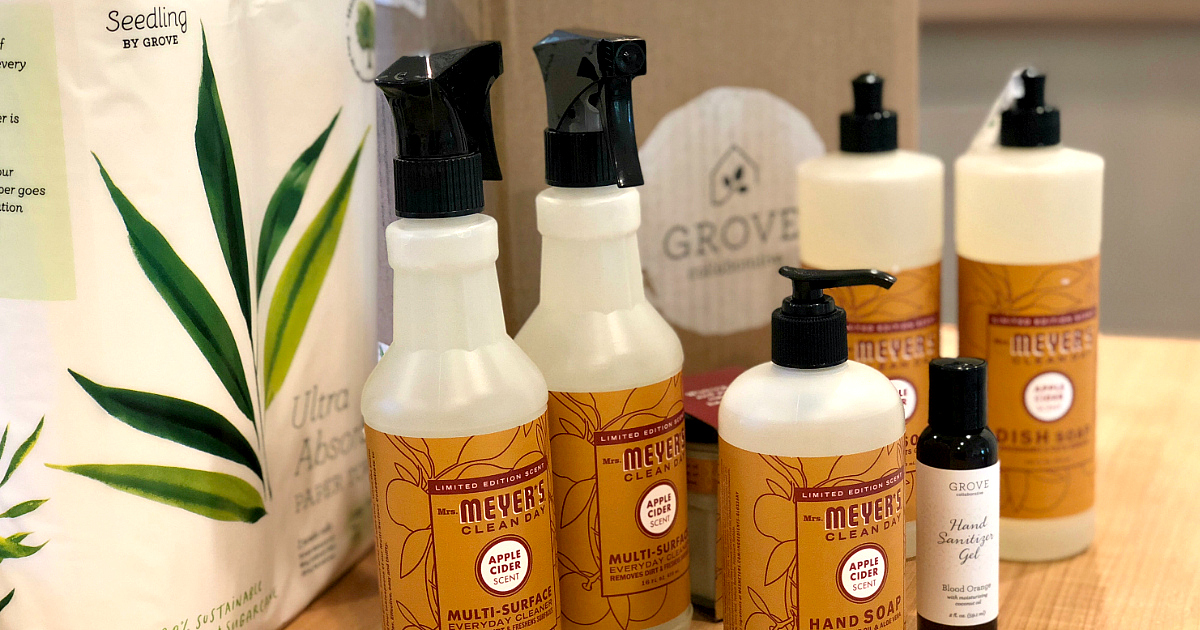 The Grove Collaborative Welcome Box – mrs meyers fall gift set and trio paper towels