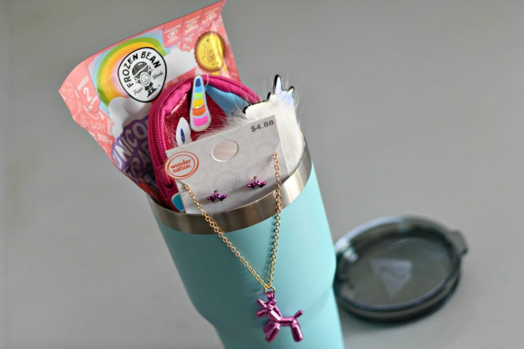DIY Tumbler gift filled with unicorn products
