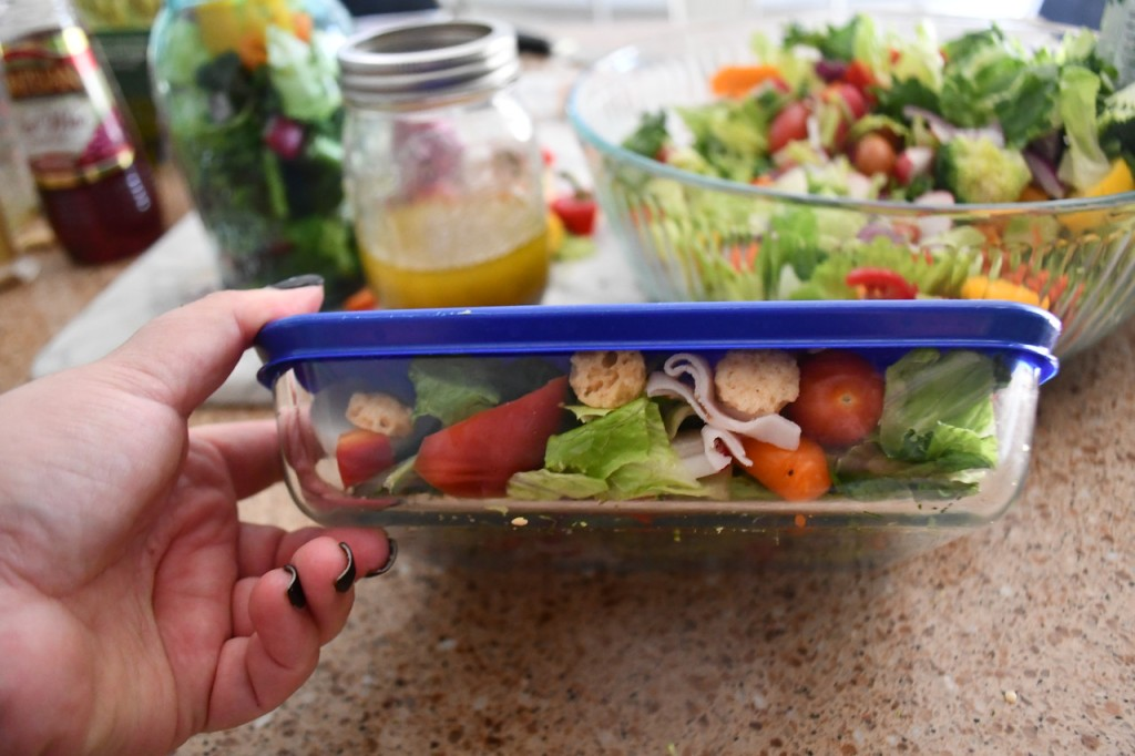 Weekly Sunday Salad Prep and my favorite dressing recipe travel well in these square glass or jar storage containers.