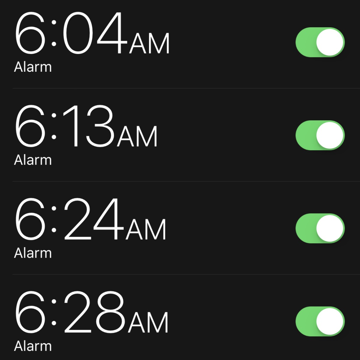 changed life 5 seconds – closeup of Erica's alarm clock settings on her phone