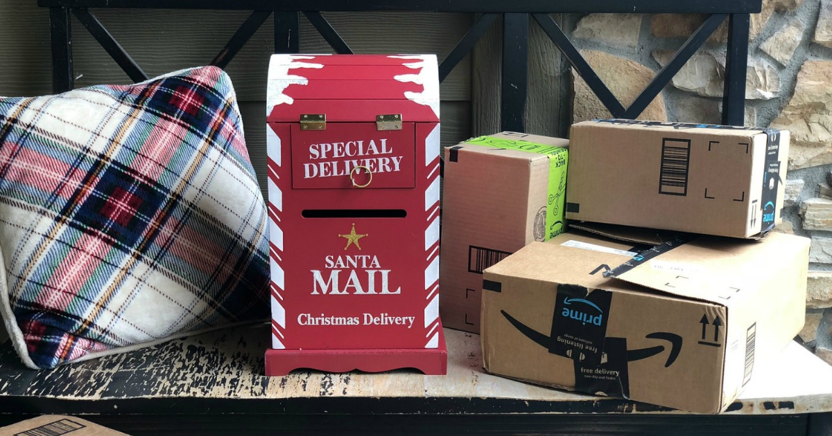 amazon day shipping prime members – mailbox and Amazon packages