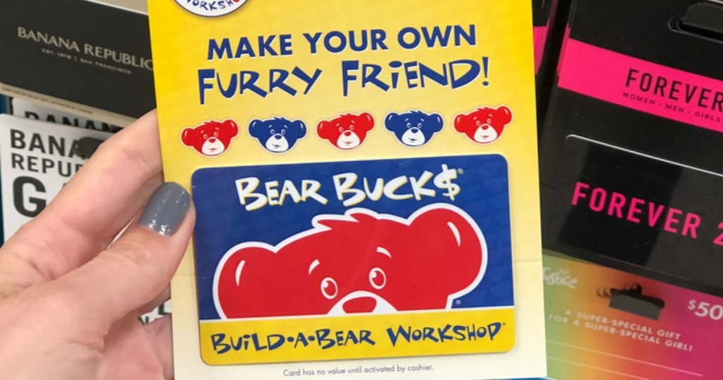 hand holding a Build-A-Bear Workshop Gift Card