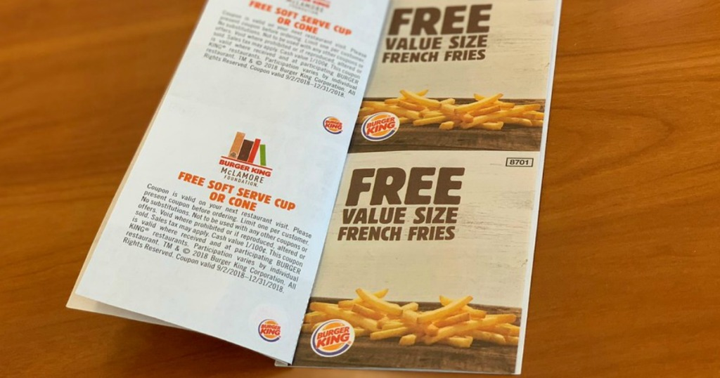 SIX Free Burger King French Fries & Ice Cream Coupons (Just
