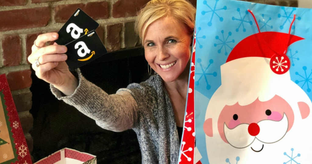 Collin with Amazon gift card holiday bag
