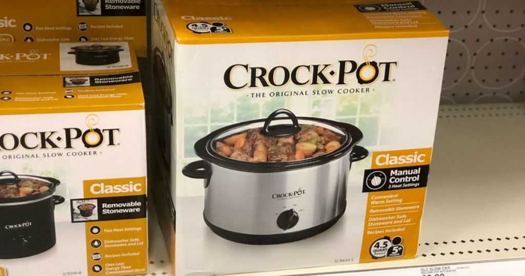 Crock-Pot slow cooker on shelf at a store