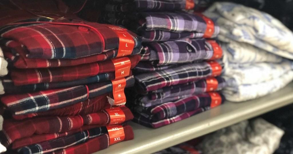 folded pajamas at a store