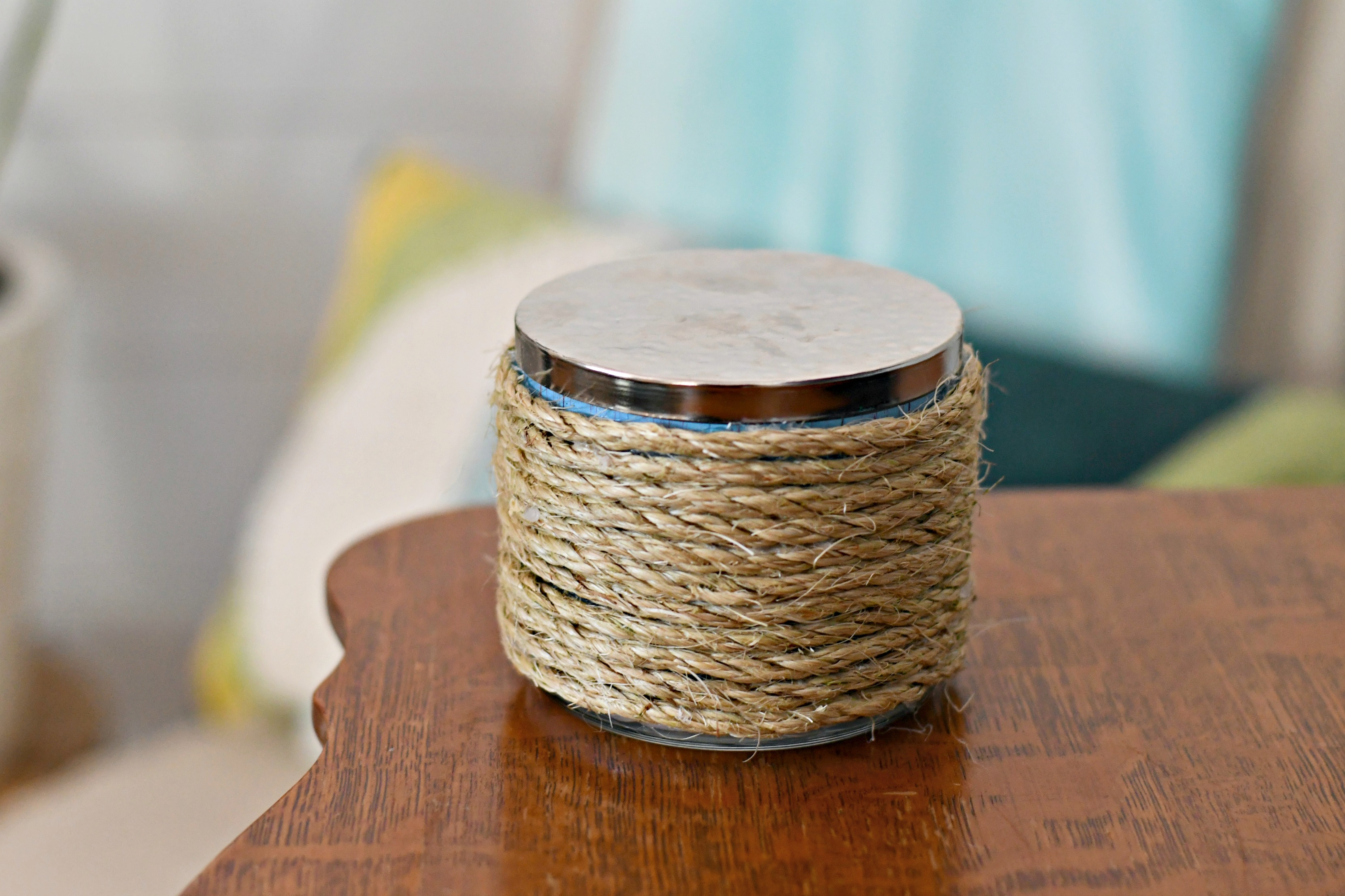 easy diy christmas candle gift ideas – Finished rope candle