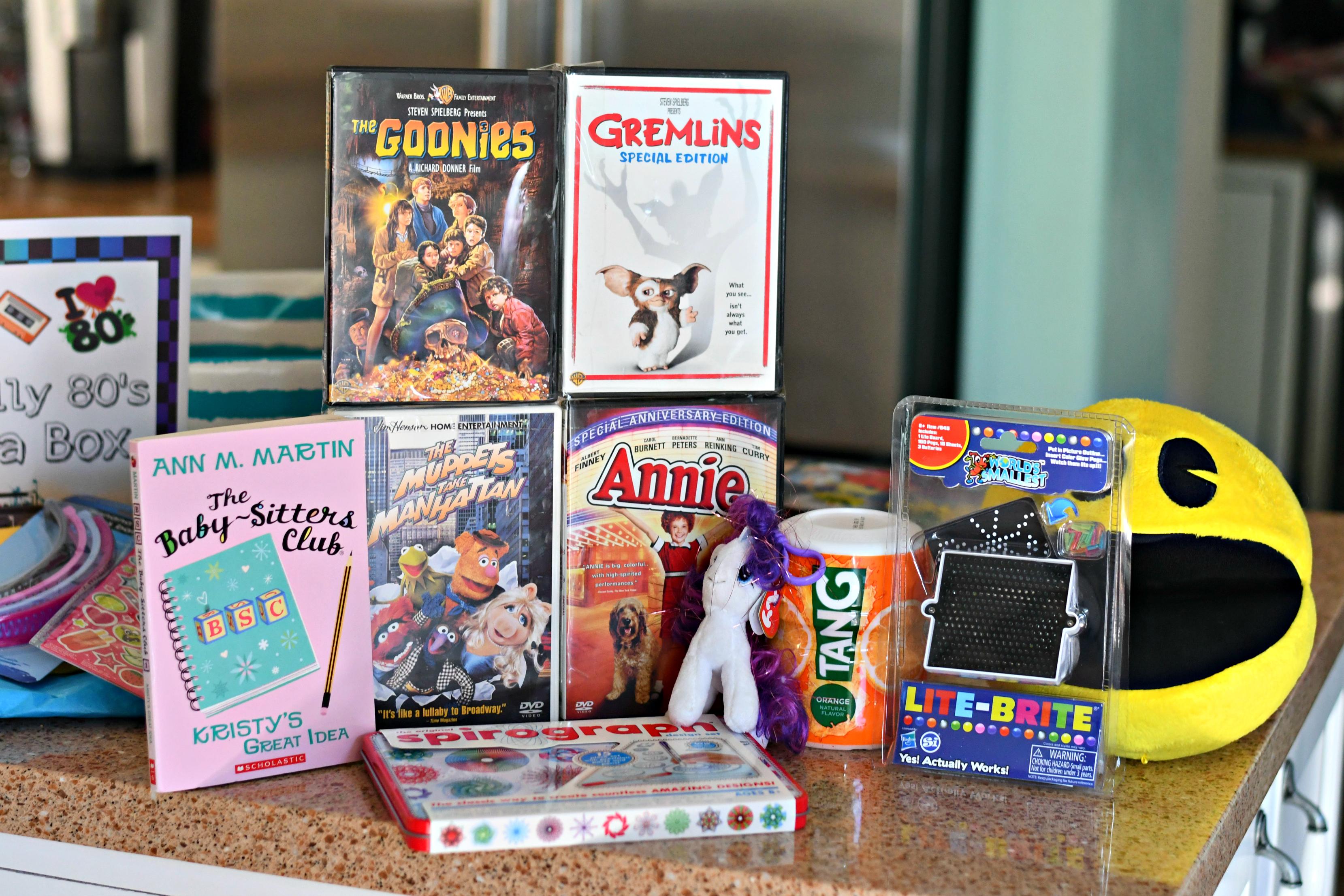 80s box gift idea – Goonies, Gremlins, Tang, and more