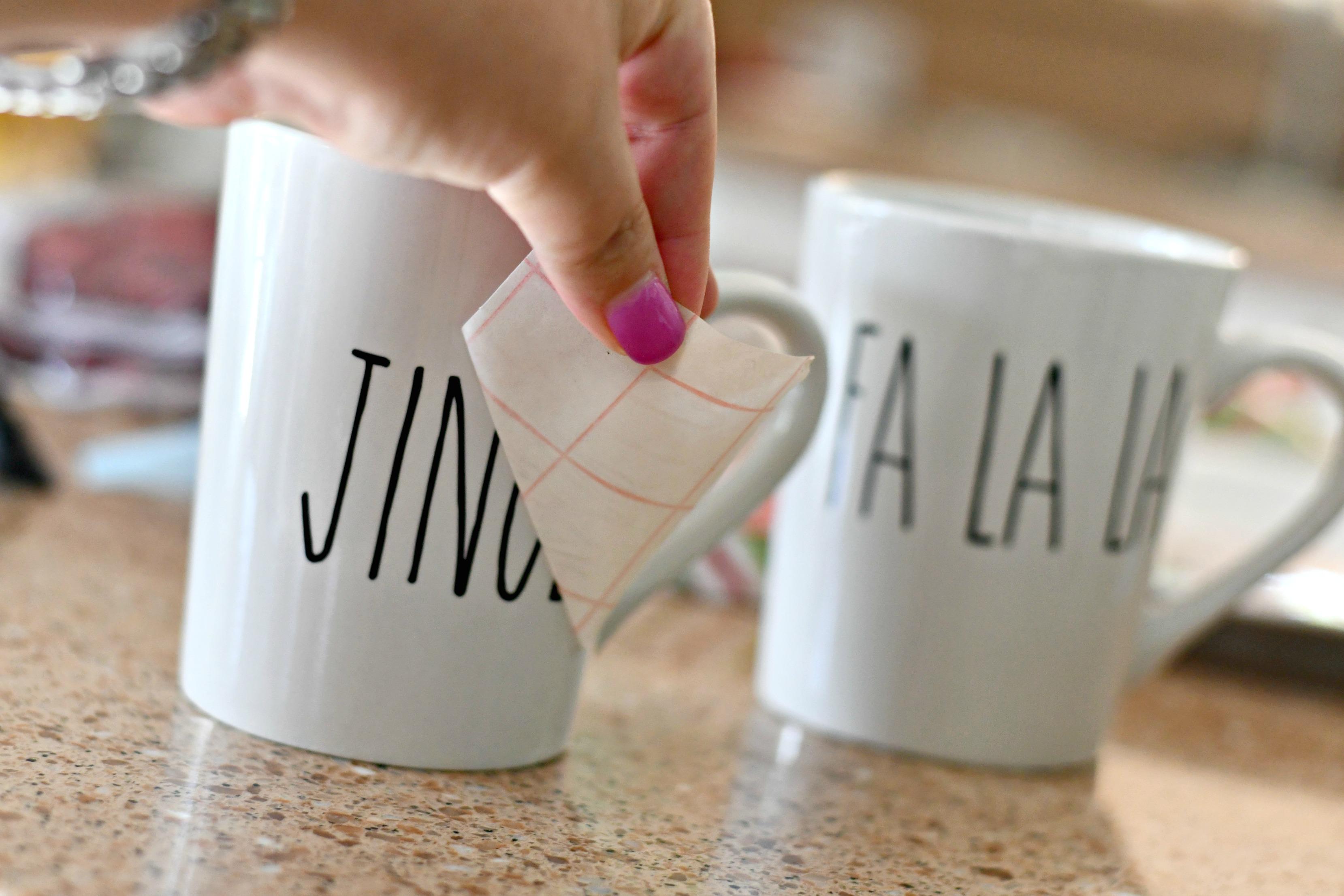 rae dunn christmas dollar tree – applying lettering to mugs