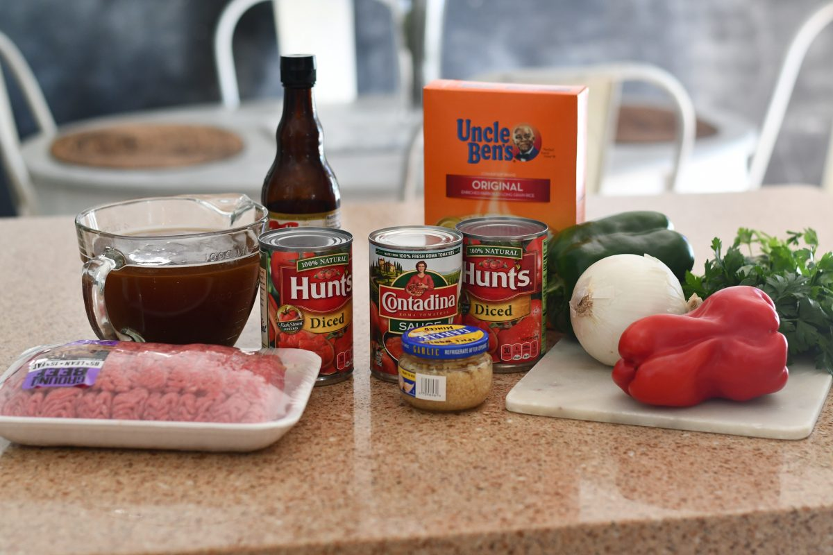 stuffed bell pepper soup ingredients on the counter
