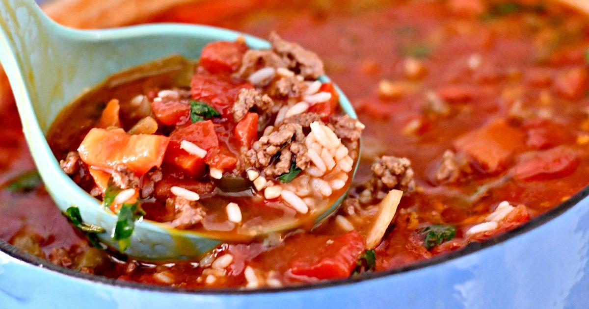 stuffed bell pepper soup in a ladle