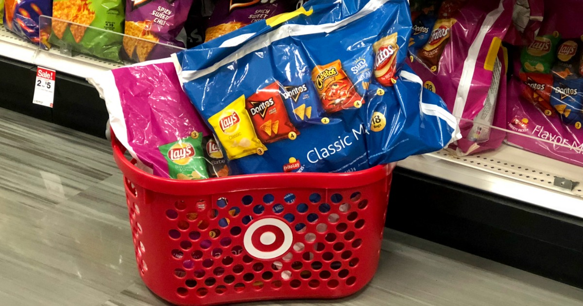 target hand basket filled with snack size bags of lay's chips in multipacks