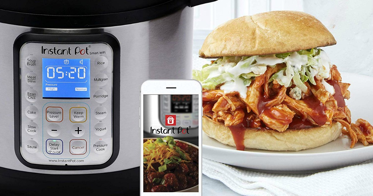 instant pot with phone and food