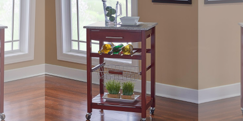 Granite Top Espresso Kitchen Cart Only $49 at Lowe's (Regularly $140)