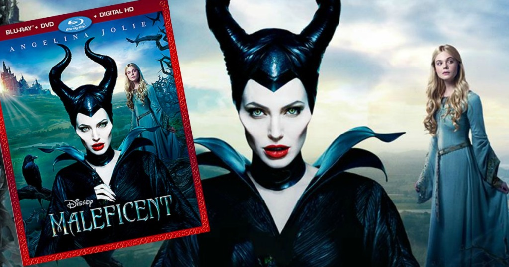 Maleficent Blue Ray Combo beside an image of the two main Characters, including Angelina Jolie