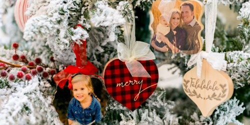 THREE Personalized Wood Photo Ornaments ONLY $30 Shipped (Just $10 Each)