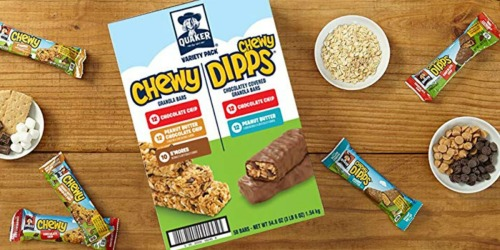 Amazon: Quaker Chewy & Dipps Bars Variety Pack 58-Count Box Only $7.91 Shipped (14¢ Per Bar) + More