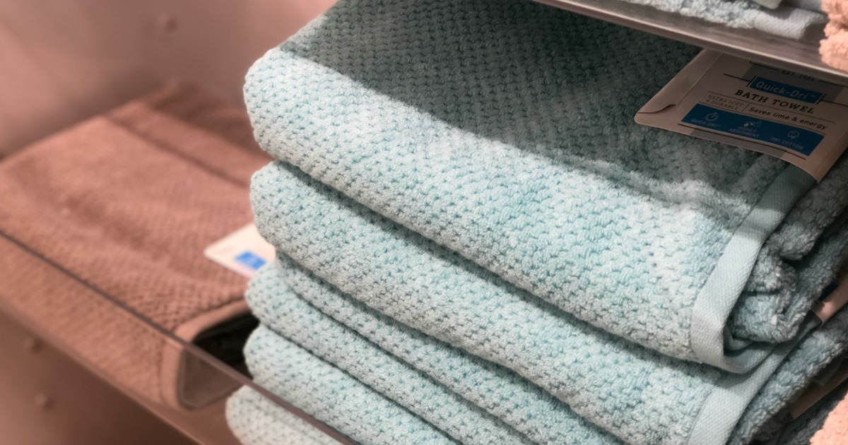 stack of towels on shelf at JCPenney