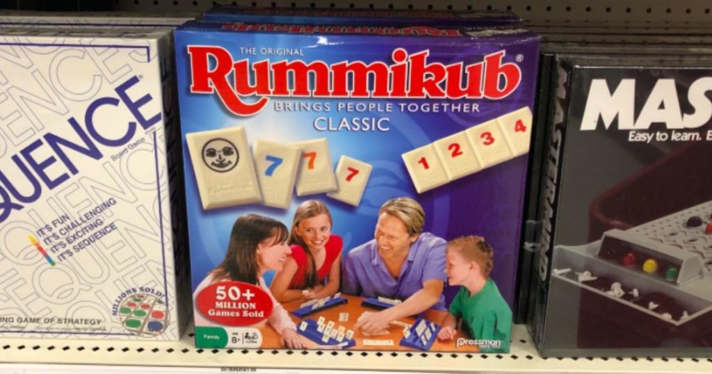 game of rummikub on a shelf in store