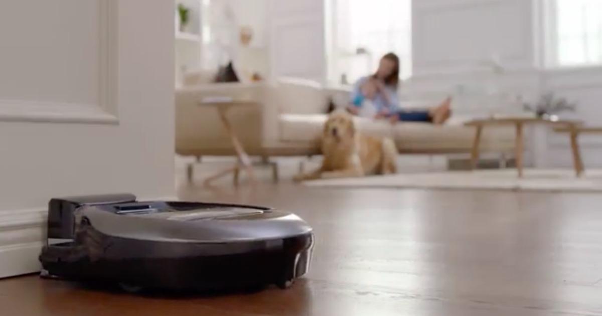 robot vacuum docked on the floor