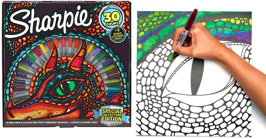 sharpie coloring pages Sharpie 30 Count Permanent Markers & Coloring Pages Set Just $10  sharpie coloring pages