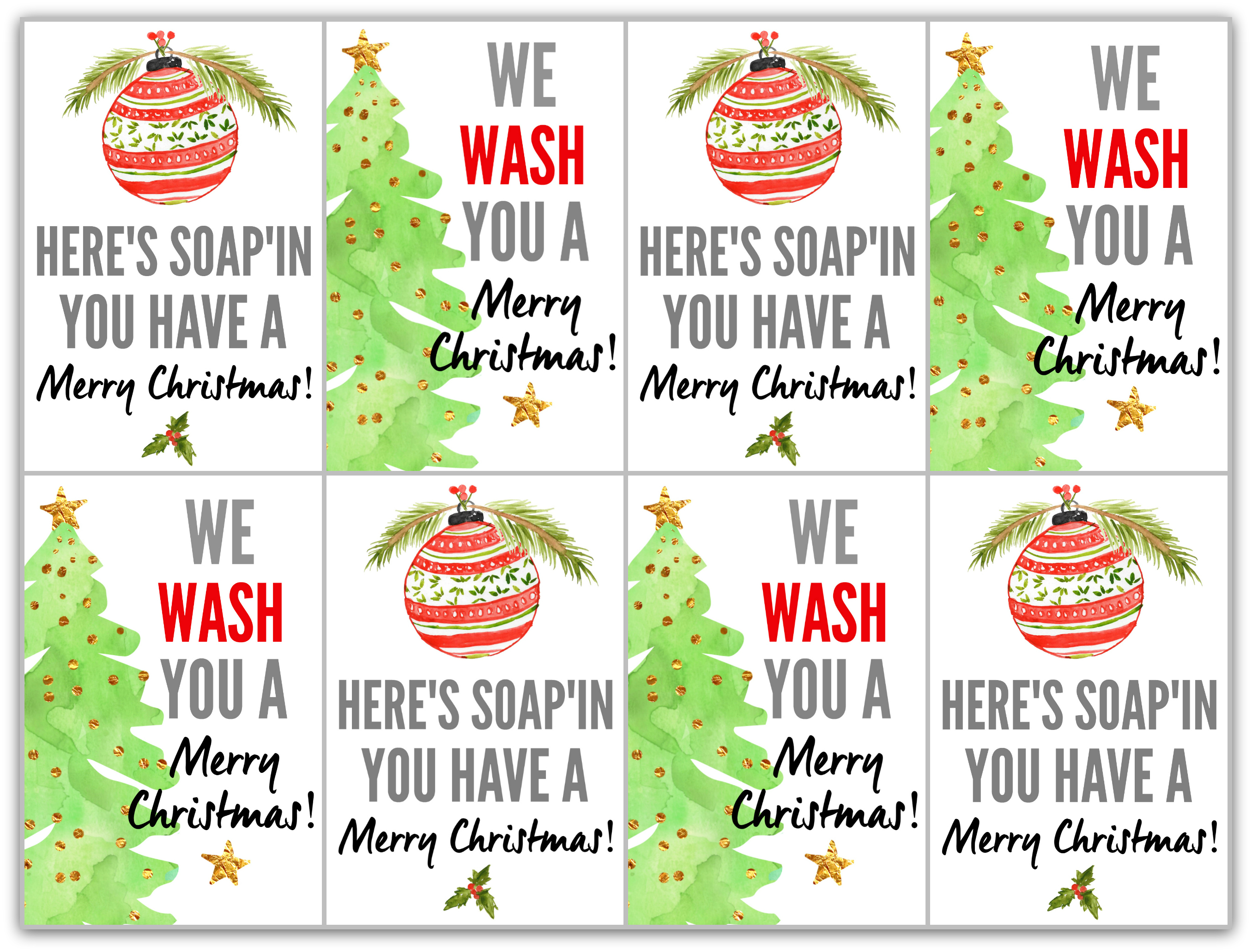 picture relating to We Wash You a Merry Christmas Free Printable titled Do-it-yourself Hostess Present (Vacation Soaps with No cost Printable Tags