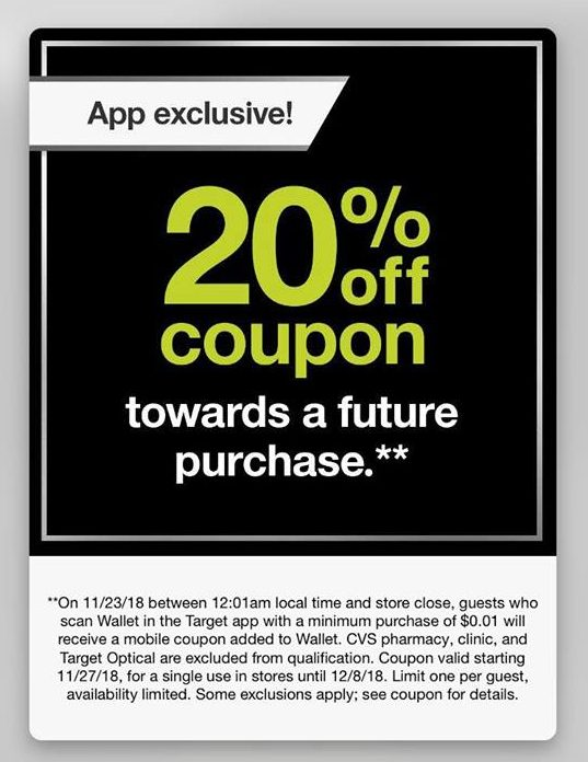 4e100d8260d73f Spend 1¢ in Target Stores Today Only   Score 20% Off Future Purchase ...