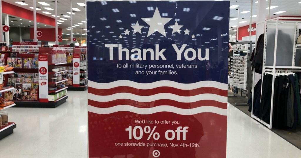 Target military member discount sign