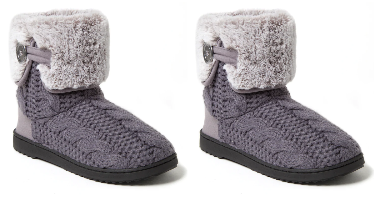 Dearfoams Cable Knit Boot Slippers