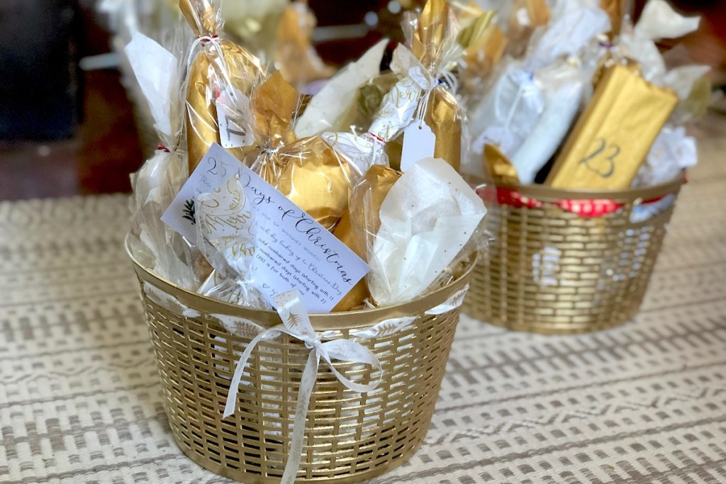 gold baskets with wrapped advent countdown presents inside