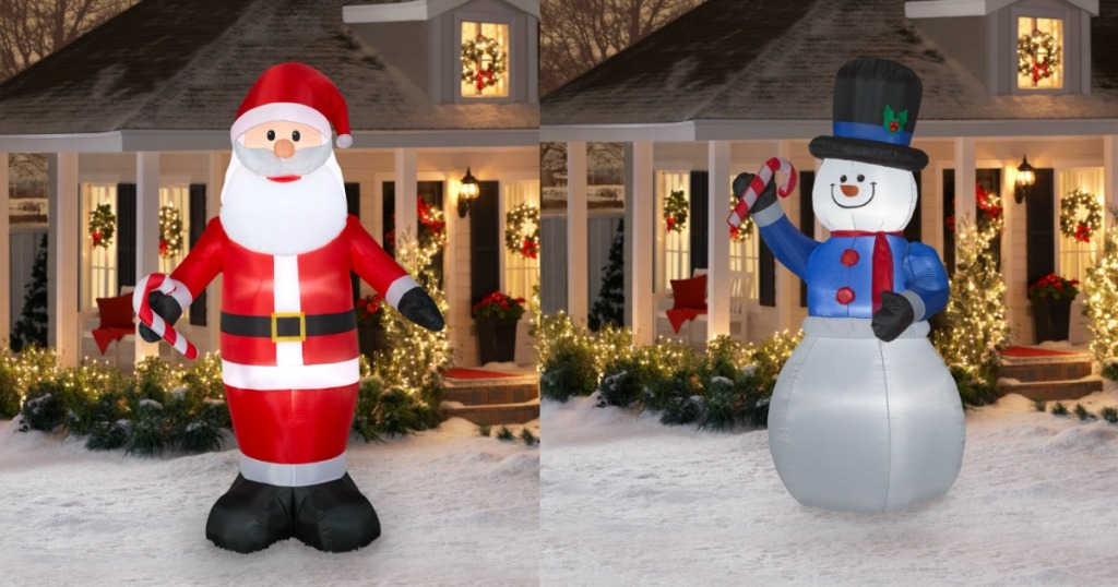 these inflatable decorations measure 9 tall and each includes four base stakes four tether stakes and ropes plus an extra lightbulb and fuse
