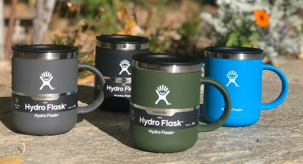 assorted colored hydro flask insulated coffee mugs 12 oz