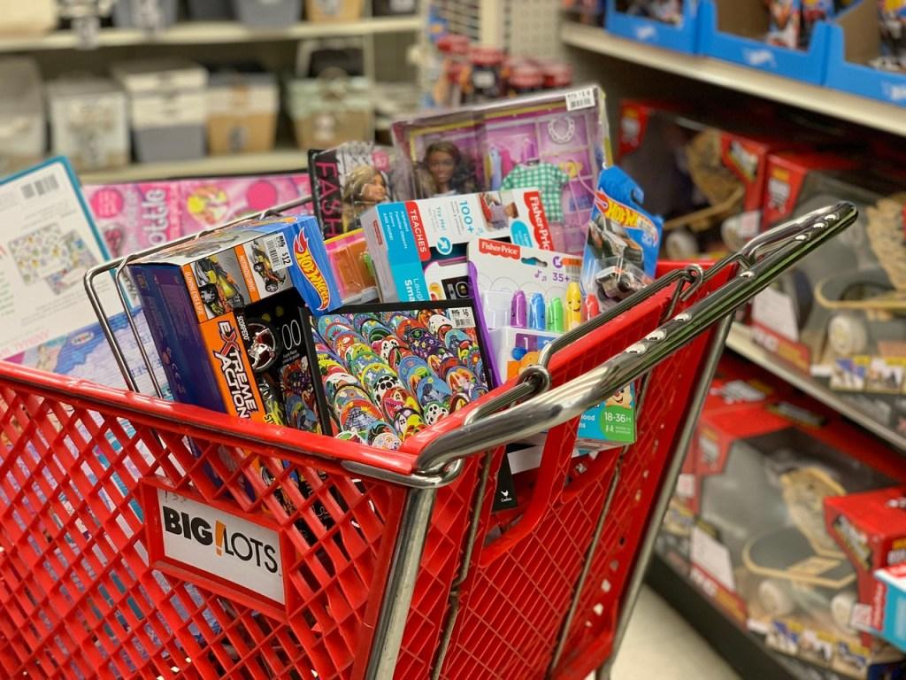 cart full of big lots toys