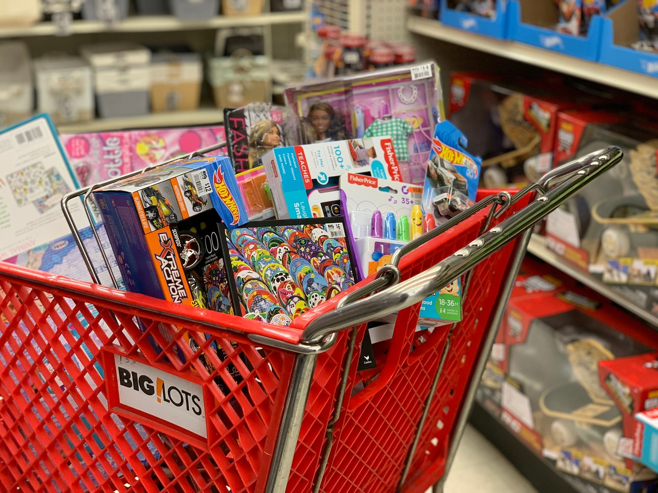 best big lots black friday deals 2018 – cart filled with toys