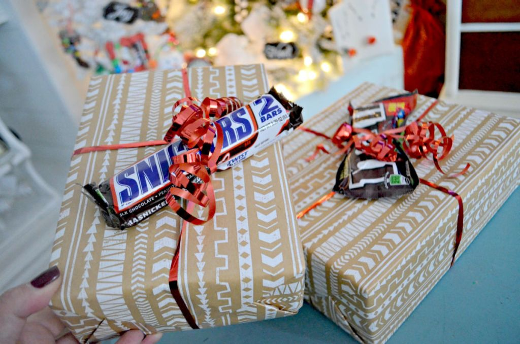 wrapped gifts topped with candy