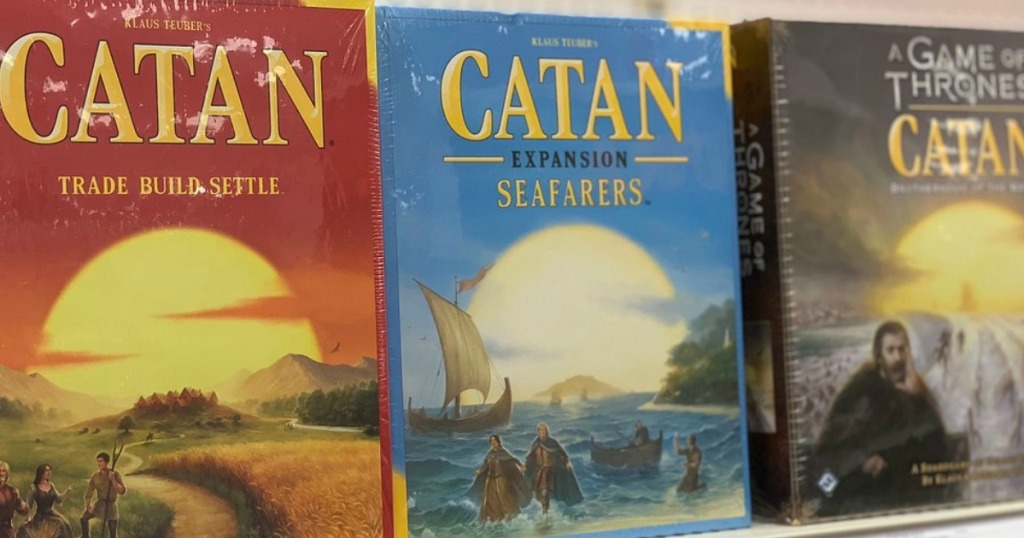 Catan expansion sets boards on store shelf