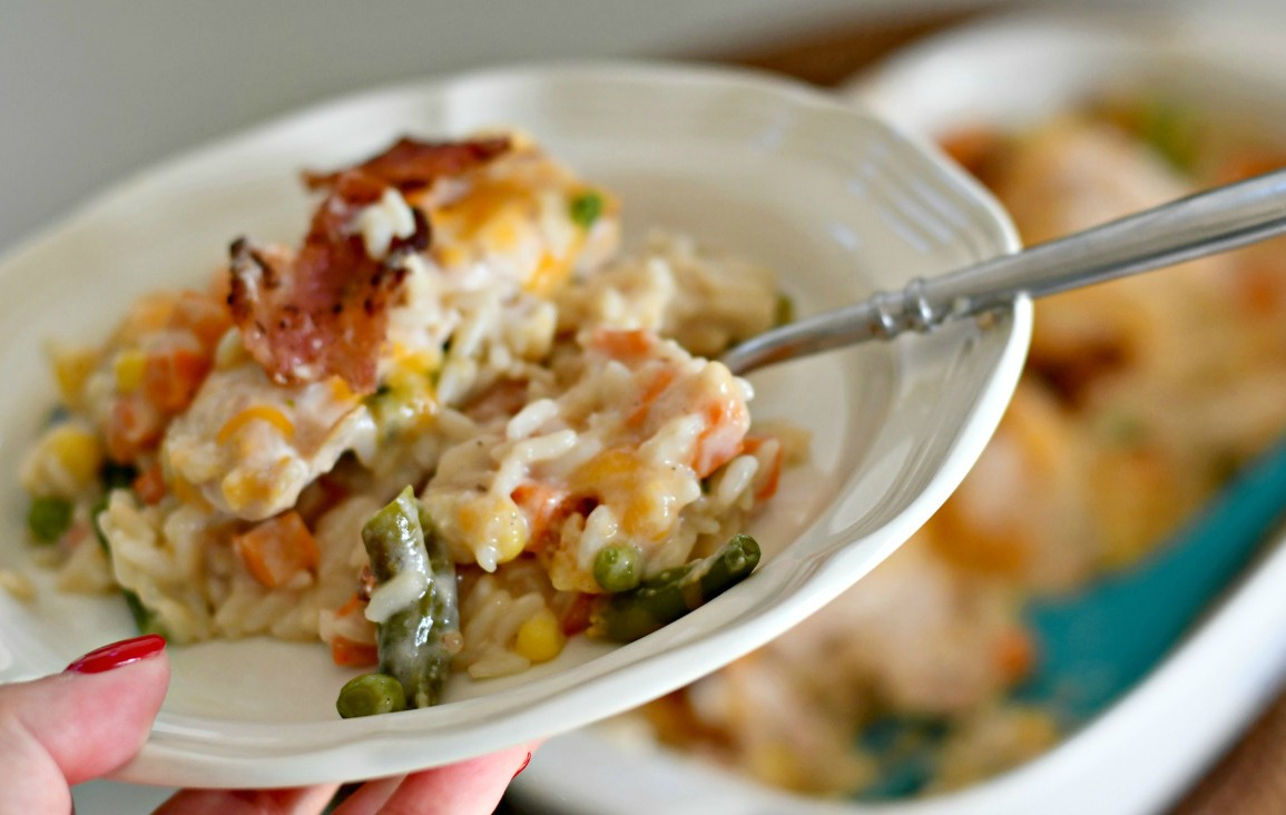 Cheesy Chicken Bacon and Rice Casserole – served on a plate