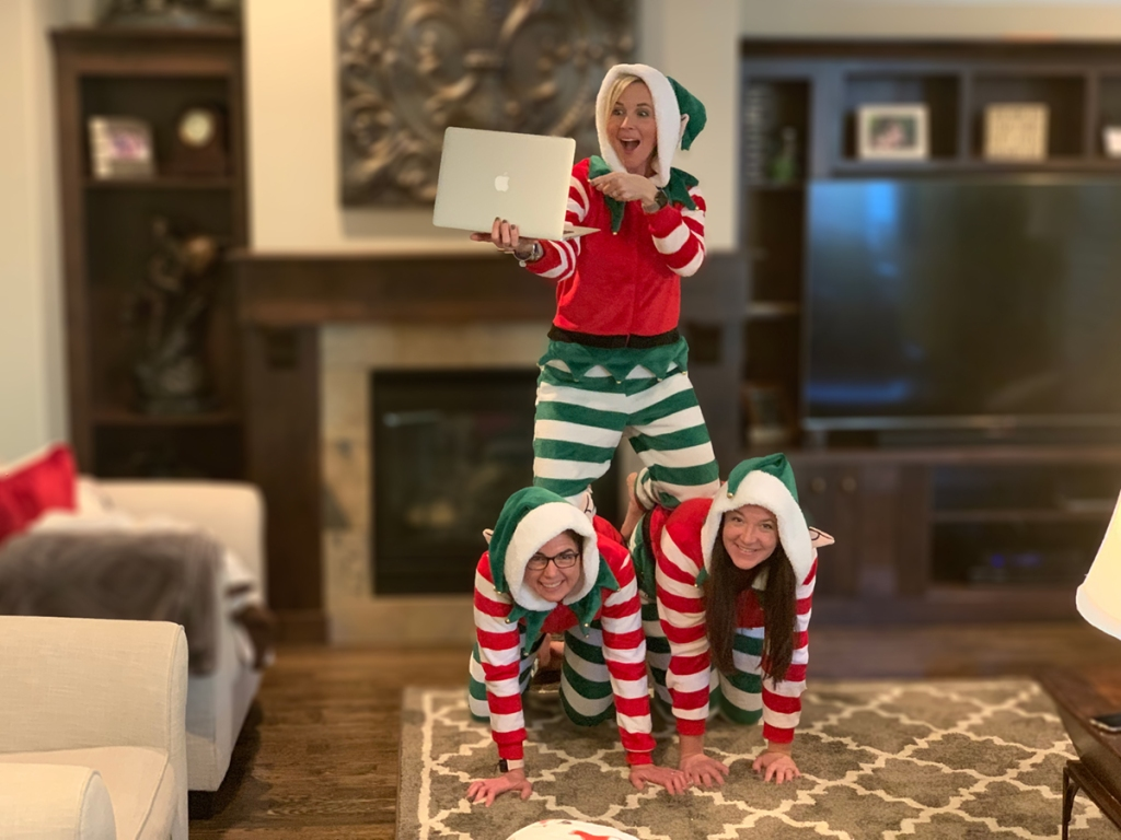 3 woman in elf pajamas